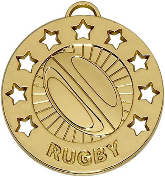 "Gold Spectrum Rugby Medal 40mm (1.5"")"