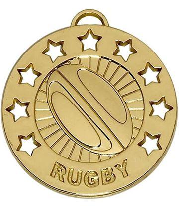 "Gold Spectrum Rugby Medal 40mm (1.5"")"