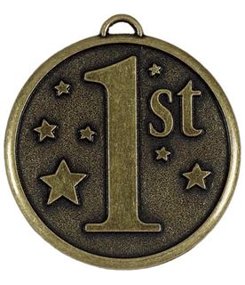 """Gold 1st Place Stars Medal 50mm (2"""")"""
