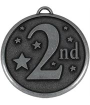 """Silver 2nd Place Stars Medal 50mm (2"""")"""
