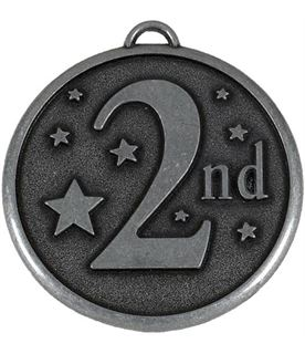 "Silver 2nd Place Stars Medal 50mm (2"")"