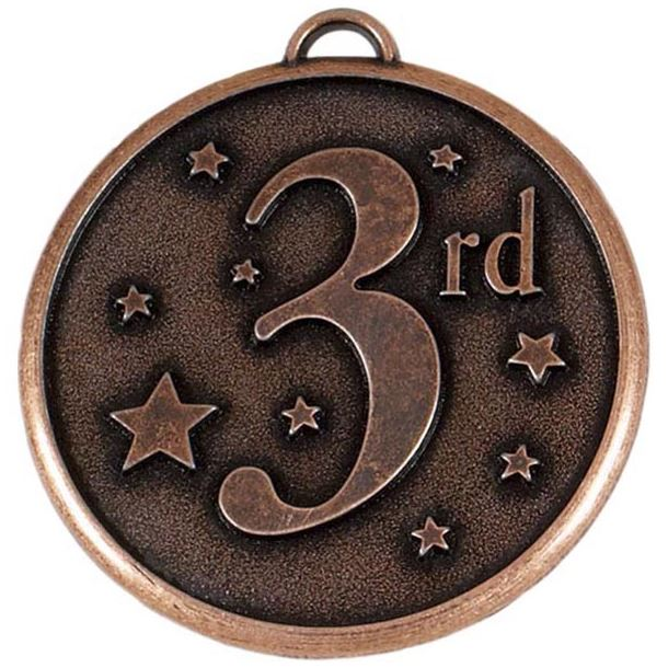 "Bronze 3rd Place Stars Medal 50mm (2"")"