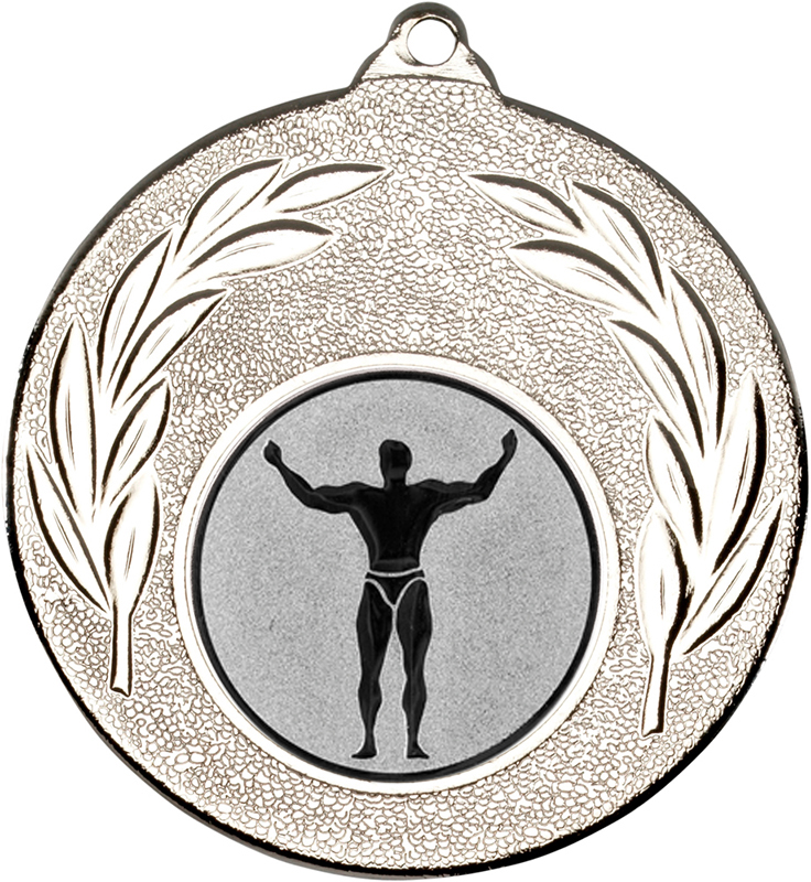 "Silver Leaf Medal with 1"" Strong Man Centre Disc 50mm (2"")"
