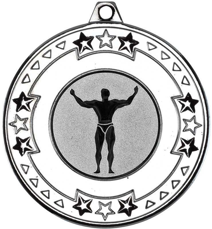 "Silver Star & Pattern Medal with 1"" Strong Man Centre Disc 50mm (2"")"