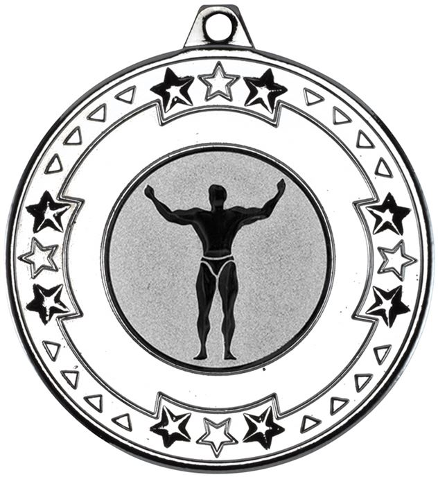 """Silver Star & Pattern Medal with 1"""" Strong Man Centre Disc 50mm (2"""")"""