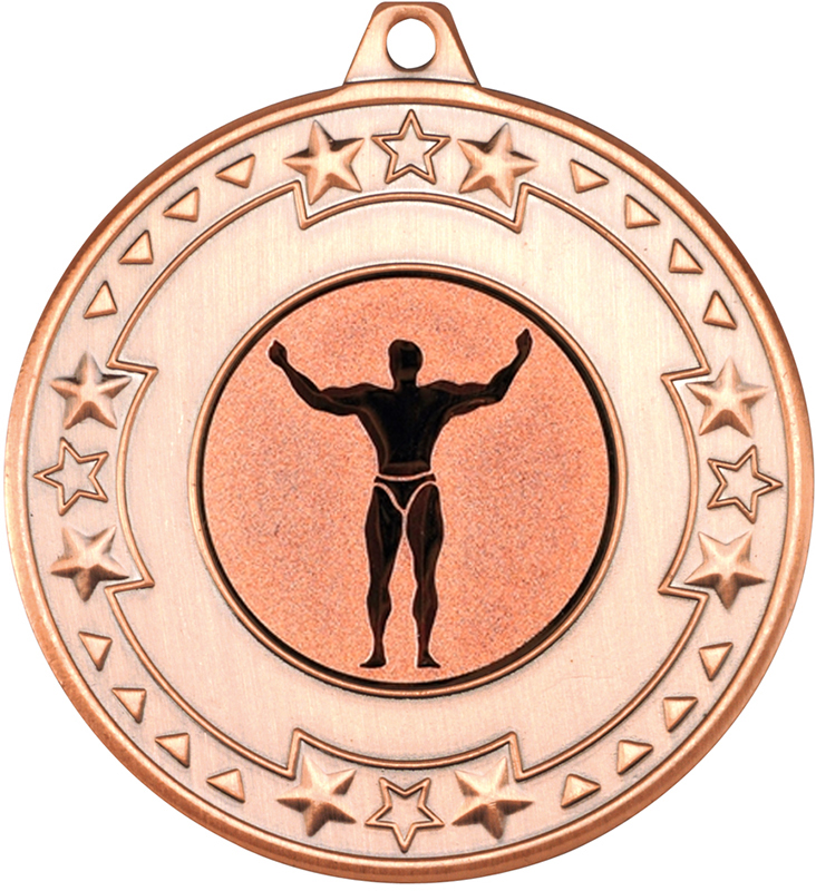 "Bronze Star & Pattern Medal with 1"" Strong Man Centre Disc 50mm (2"")"
