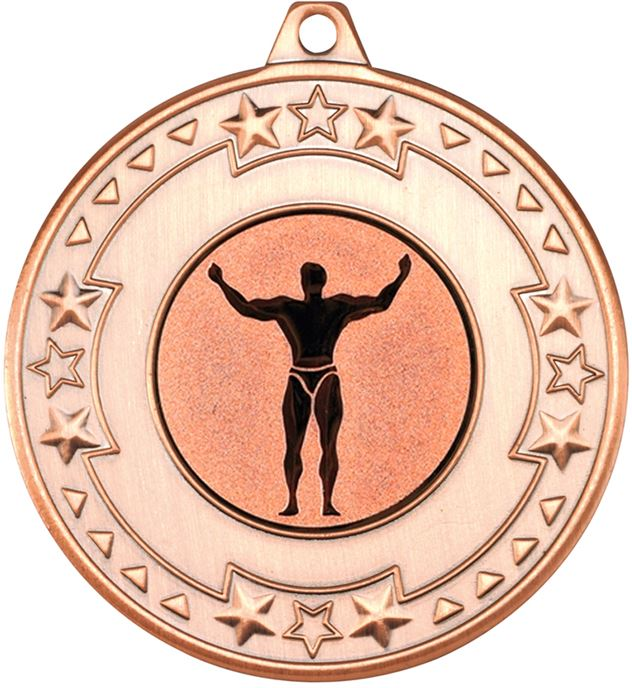 """Bronze Star & Pattern Medal with 1"""" Strong Man Centre Disc 50mm (2"""")"""