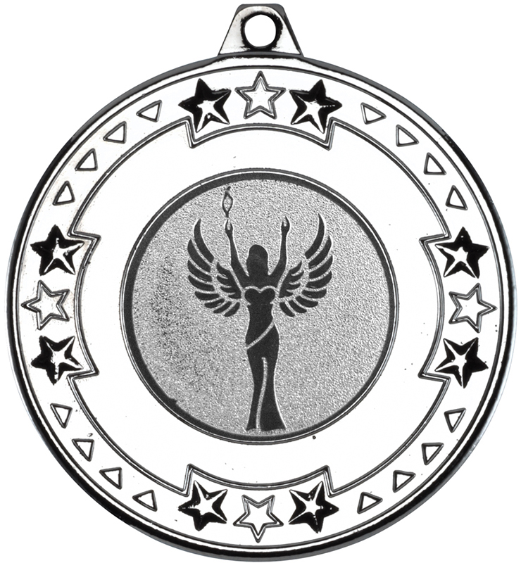 "Silver Star & Pattern Medal with 1"" Achievement Centre Disc 50mm (2"")"