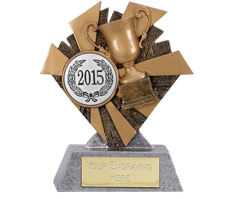 """Gold & Silver Multi Award Smash Trophy 10cm (4"""") with Silver 2015 Centre Disc"""