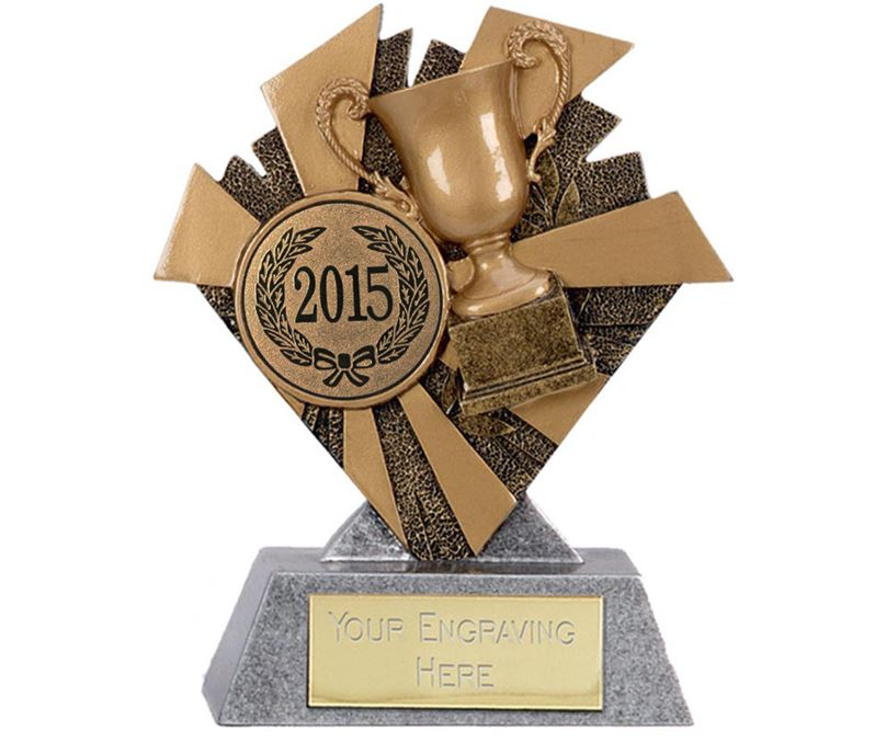 "Gold & Silver Multi Award Smash Trophy 10cm (4"") with Bronze 2015 Centre Disc"