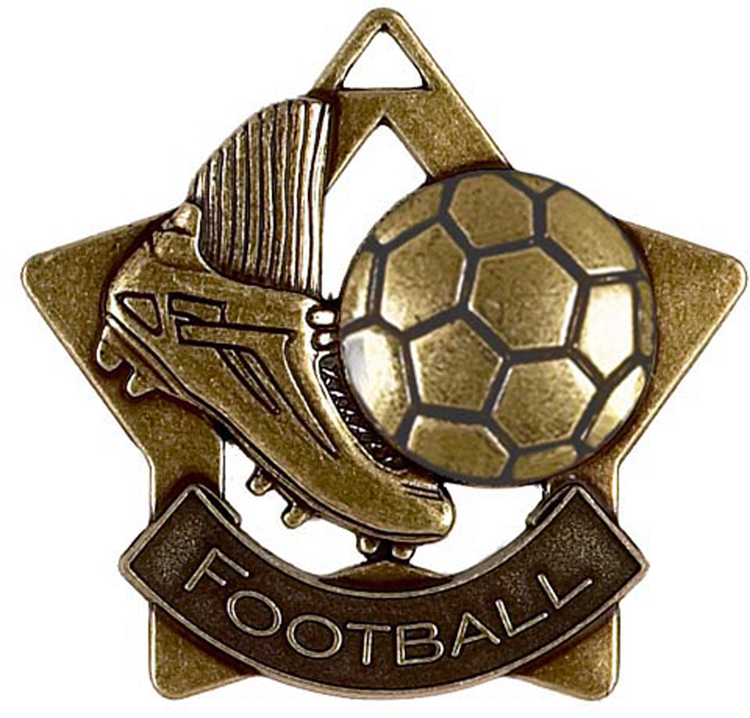 "Bronze Football Mini Star Medal 60mm (2.25"")"