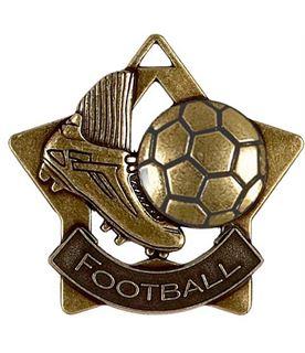 "Bronze Football Mini Star Medal 60mm (2.25"")"