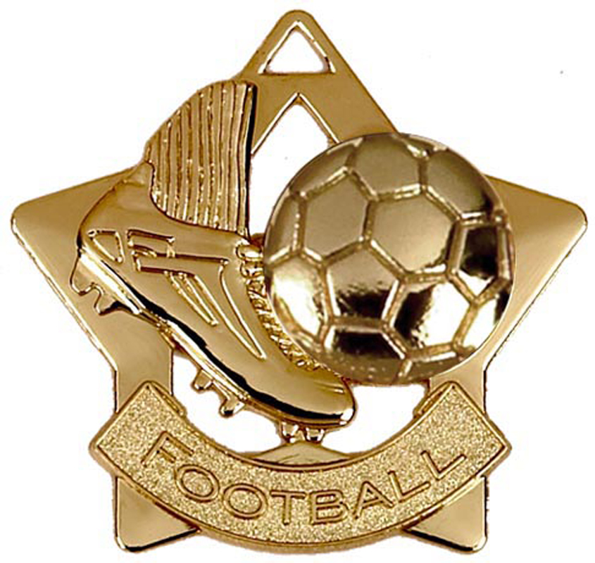 "Gold Football Mini Star Medal 60mm (2.25"")"