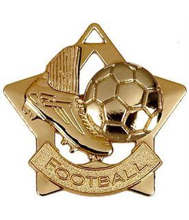 "Gold Football Mini Star Medal 60mm (2.25"")"
