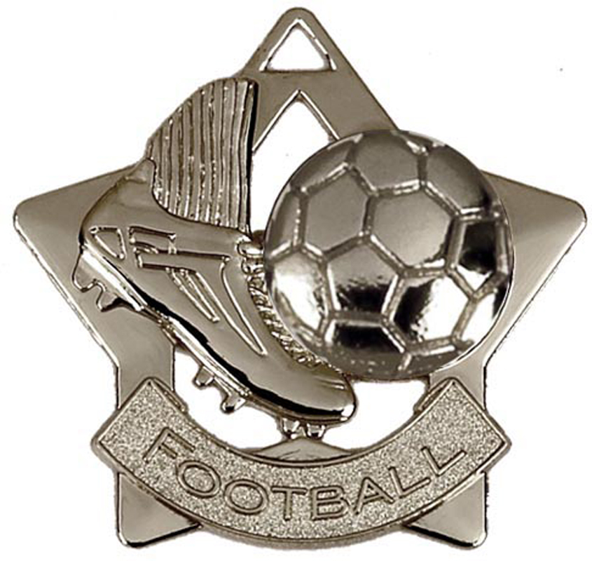 "Silver Football Mini Star Medal 60mm (2.25"")"