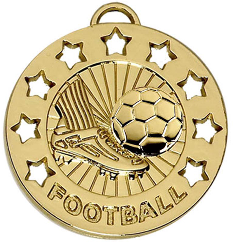"Gold Spectrum Football Medal 40mm (1.5"")"