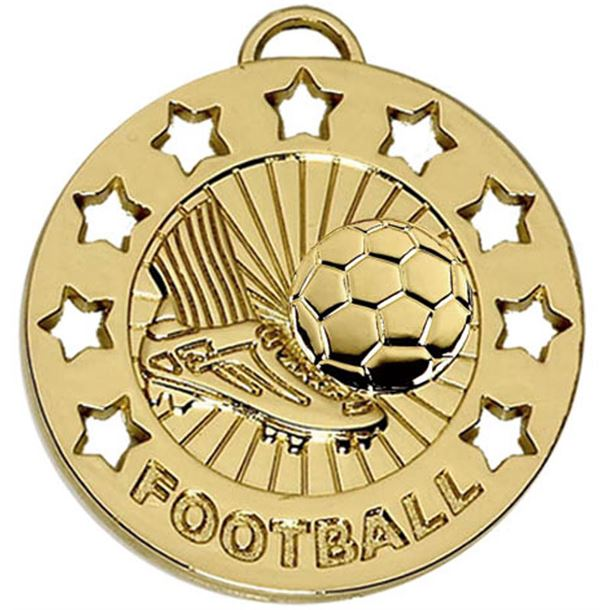 "Gold Spectrum Football Medal 40mm (1.5"")"