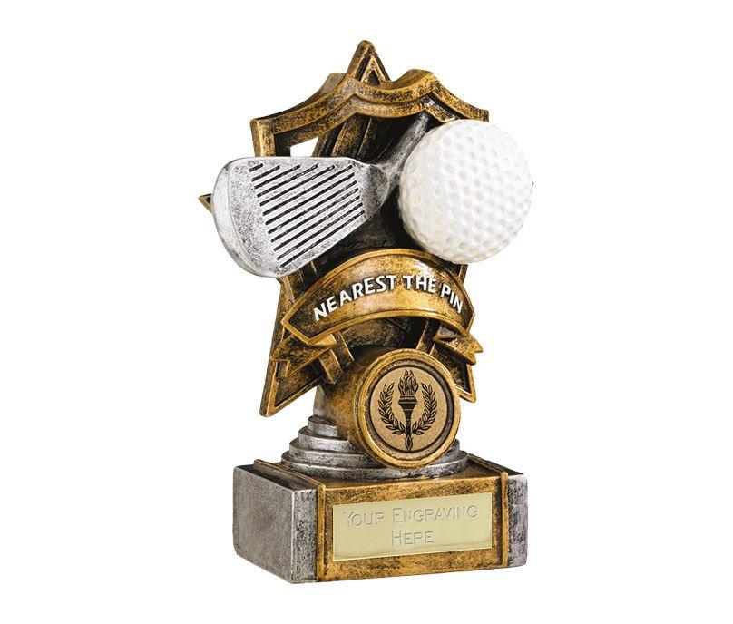 "Gold Resin Golf Nearest The Pin Shield Star Trophy 15cm (6"")"