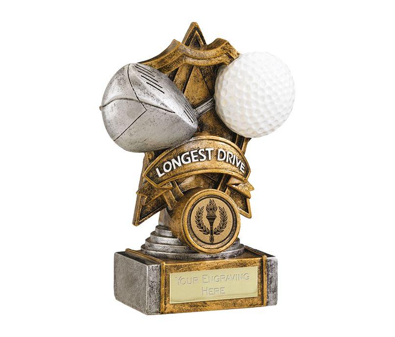 "Gold Resin Golf Longest Drive Shield Star Trophy 15cm (6"")"