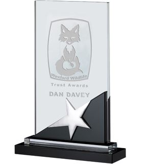 "Optical Crystal & Black Glass Plaque Star Award 24cm (9.5"")"