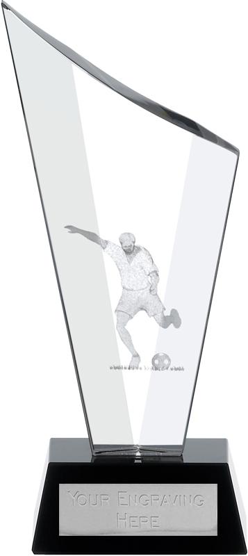 "Football Award Optical Crystal on Black Glass Base 15cm (6"")"