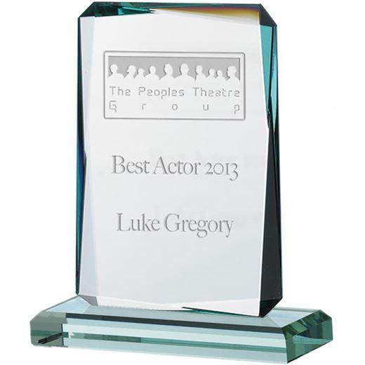"Rectangle Jade Glass Plaque Award with Cut Edges 14cm (5.5"")"