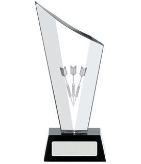 "Darts Award Optical Crystal on Black Glass Base 21cm (8.25"")"