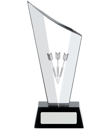 "Darts Award Optical Crystal on Black Glass Base 15cm (6"")"