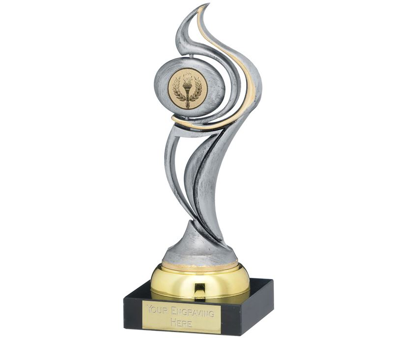 "Antique Silver Plastic Flame Trophy on Marble Base 20.5cm (8"")"