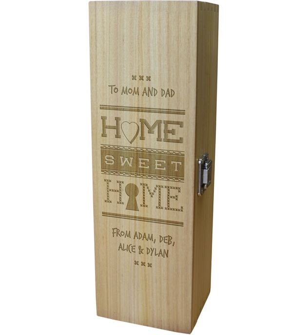 """Home Sweet Home Personalised Wine Box 35cm (13.75"""")"""