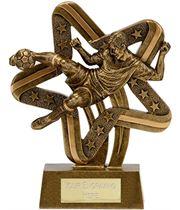 """Antique Gold Resin Stars & Stripes Footballer Trophy 17cm (6.75"""")"""
