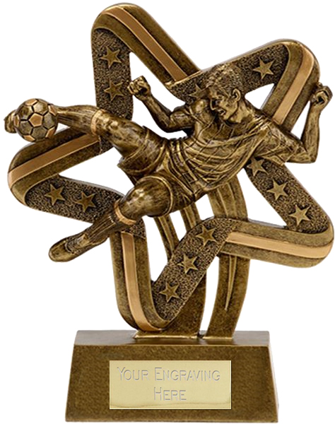 "Antique Gold Resin Star & Stripes Action Football Trophy 8.5cm (3.25"")"
