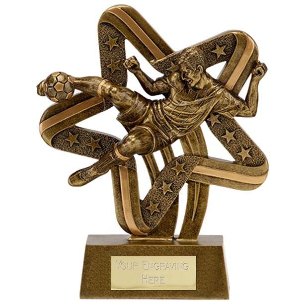 """Antique Gold Resin Stars & Stripes Footballer Trophy 19.5cm (7.75"""")"""