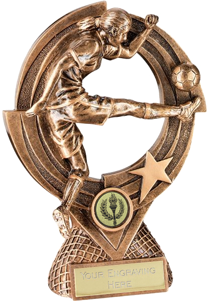 "Gold Resin Female Football Trophy on Round Frame 25cm (9.75"")"