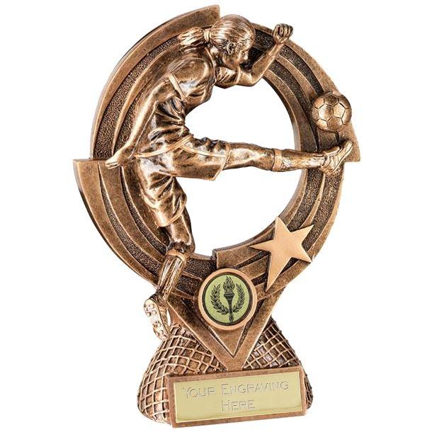 "Gold Resin Female Football Trophy on Round Frame 15cm (6"")"