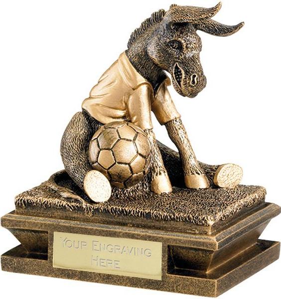 "Gold & Antique Gold Football Donkey Trophy 12cm (4.75"")"