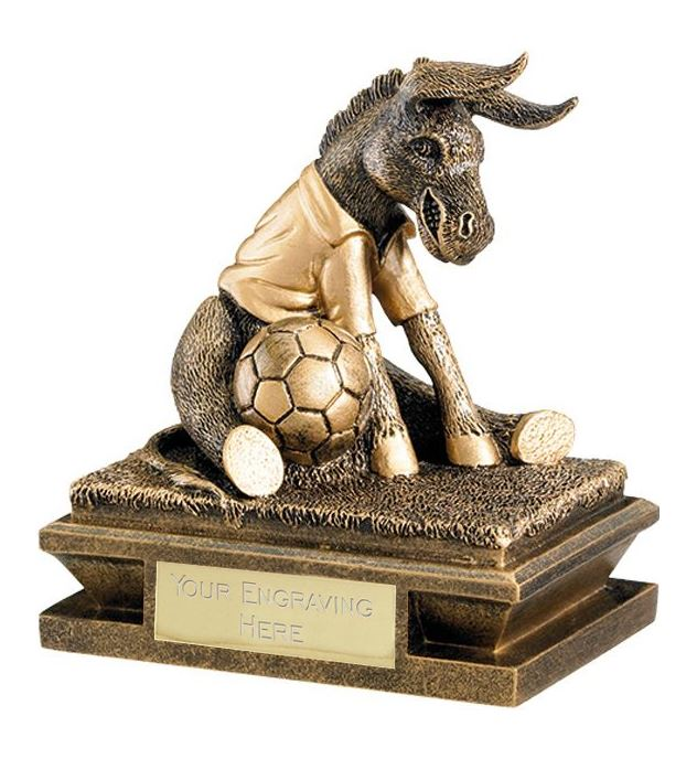 "Gold & Antique Gold Football Donkey Trophy 12cm (4.75"")"