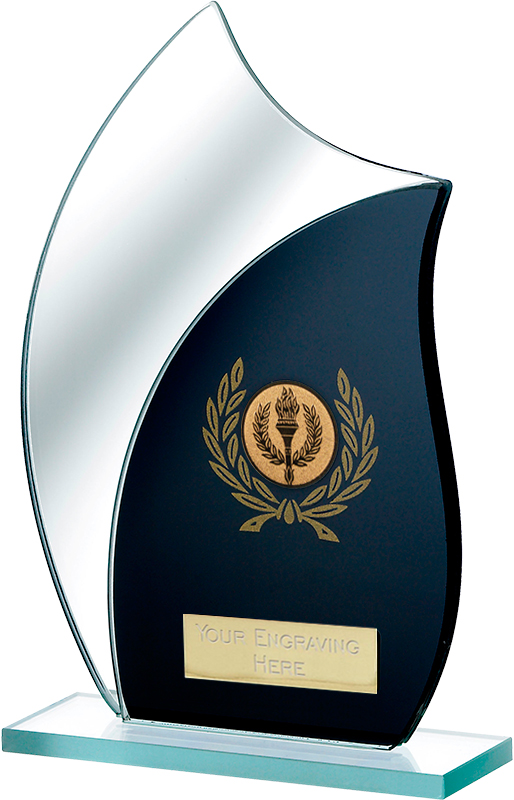 "Black Mirrored Glass Award 20.5cm (8"")"
