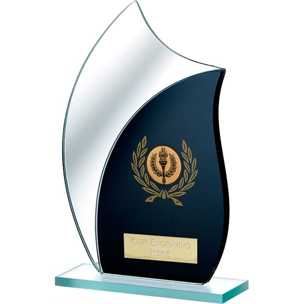 "Black Mirrored Glass Award 18.5cm (7.25"")"