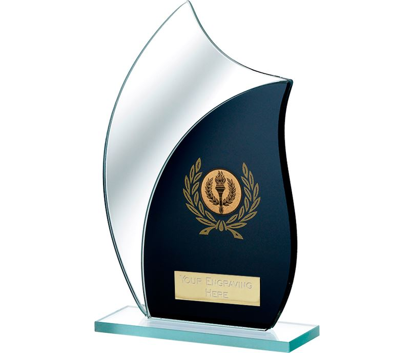 "Black Mirrored Glass Award 18.5cm (7.25"")"