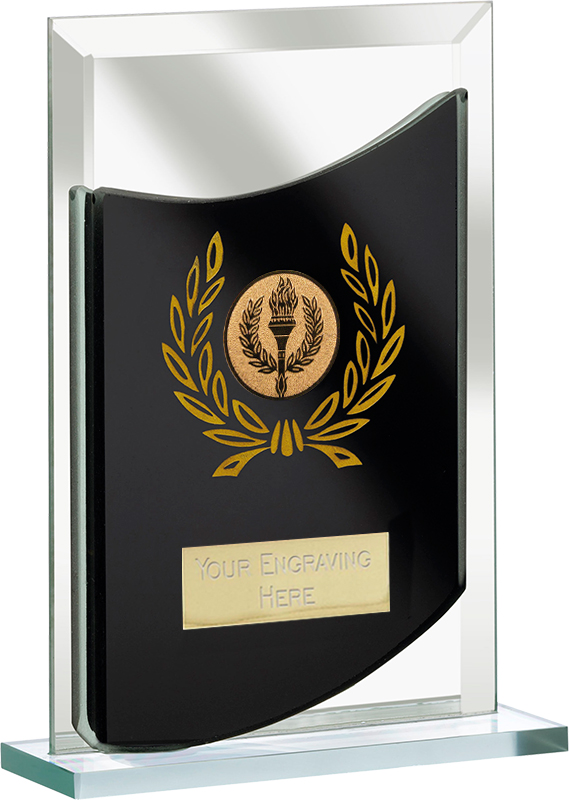 "Rectangular Black Mirrored Glass Award 15cm (5.75"")"