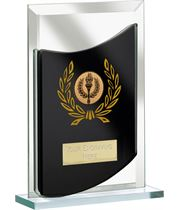 "Rectangular Black Mirrored Glass Award 12.5cm (5"")"