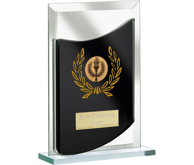 "Rectangular Black Mirrored Glass Award 16.5cm (6.5"")"