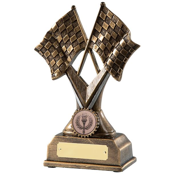 """Antique Gold Chequered Flag Motorsports Trophy 18cm (7"""")"""
