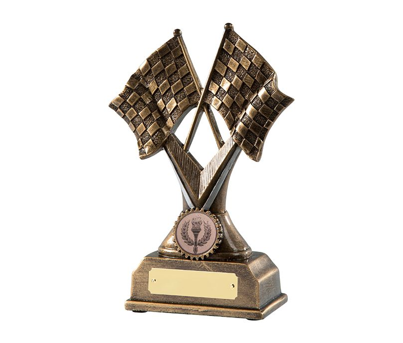 "Antique Gold Chequered Flag Motorsports Trophy 14cm (5.5"")"