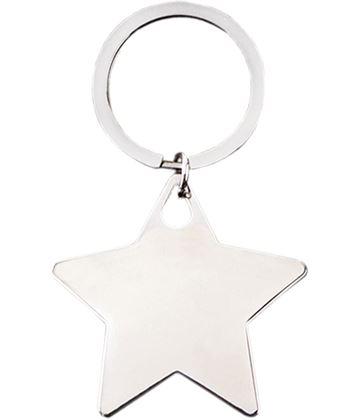 "Silver Metal Star Keyring 5cm (2"")"