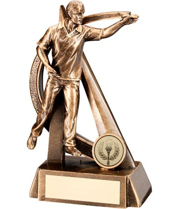 "Gold Resin Male Darts Player in Action Trophy 19cm (7.5"")"