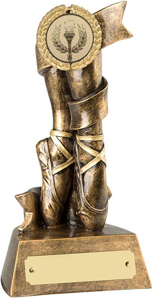 "Antique Gold Resin Ballet Trophy with Gold Trim 16.5cm (6.5"")"