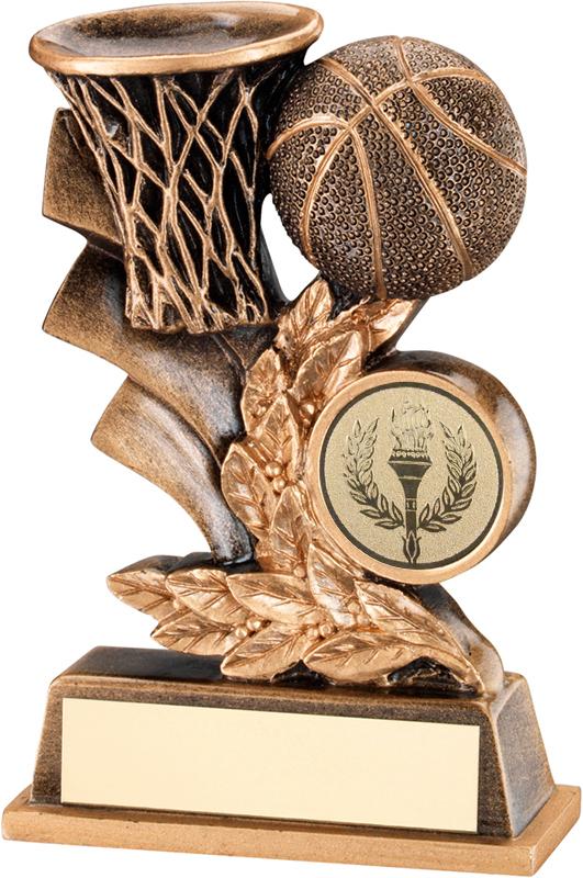 """Gold Basketball Hoop & Ball Leaf Plaque Trophy 10cm (4"""")"""