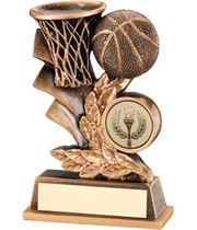 "Gold Basketball Hoop & Ball Leaf Plaque Trophy 12.5cm (5"")"